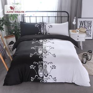 Slowdream Çift Yatak Seti Beyaz Siyah Yatak Örtüsü Nevresim Yastık Kılıfı Yorgan AUDIYI Kral Yetişkin Yatak Çarşafları Yatak Örtüleri