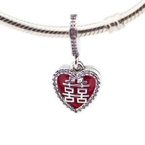 Nouveau authentique argent 925 Charm émail rouge Double Happiness Coeur pendentif en cristal Perle Fits Marque Charm Bracelet bricolage Bijoux