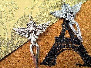 15PCS - Крылатый меч с розеткой - Старинные тибетские серебряные кулоны с подвесками / подвески, Крест с крыльями, набор для поделок, 48x34 мм