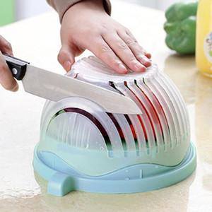 홈 크리 에이 티브 60 번째 플라스틱 샐러드 그릇 샐러드 과일 야채 세척 바구니 커터 빠른 샐러드 메이커 헬기 커터 주방 도구
