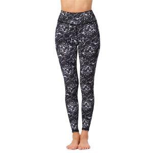 Kadınlar Spor Yoga Tozluklar Siyah Dijital Baskı Pantolon Yüksek Waisted Gym Koşucular Sweatpants Ayak bileği uzunluğu Pantolon Egzersiz kırpılmış Pantolon Koşu