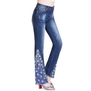 WZJHZ 2018 Jeans Women Painted Flowers 헐리우드 허리 슬림 피트 벨 탑 플레어 팬츠 Vintage Ladies Jeans