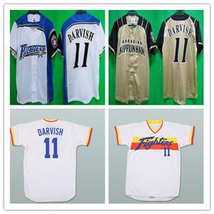 Пользовательские 11 Yu Darvish Hokkaido Nippon-Ham Fighters Трикотажные Изделия Бейсбол Желтый Белый Альтернативный Сшитые Любое Имя Номер Рубашки Дешевые Хорошо