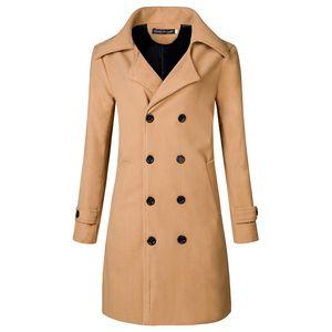 Brand New Men Coat Fashion British Style Wool Blends Slim Mens Overcoat Quality Male Winter Long Long Mens Pea Coat