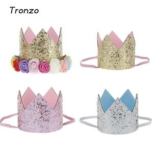 Festa de Aniversário Tronzo Mini Sentiu Brilho Coroa com Flor Príncipe e Princesa Chapéu Para Festa de Chuveiro Do Bebê Acessórios Decorativos