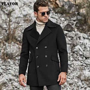 FLAVOR erkek Saf Yün Coat Sıcak Bezelye Ceket Ceket Uzun Siyah Slim Fit Dış Giyim Gerçek Yün Siper