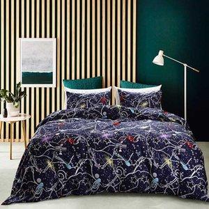 Cama individual Ropa de cama Ropa de cama Starry Sky Reactiva Impreso Duvet Cover Set Queen Size Amierican Style Blue Bed Cover Twin ropa de cama