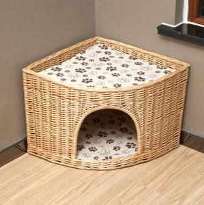 L размер ручной работы натуральный цвет плетеная корзина угловая кошачья кровать пещера собачий дом мебель для домашних животных ротанг домашний идеальный подарок Котенку с подушками ковриками
