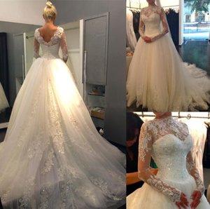 Luminoso apliques lentejuelas vestido de novia con mangas largas Nuevo tul vestidos de novia barrer vestido nupcial del tren