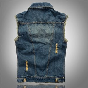 New Ripped Jean Jacket Mens Denim Vest Plus Size M - 6XL Jean Gilet Hommes Cowboy Veste Sans Manche Mâle