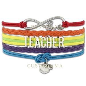 Custom-Infinity Love To Teacher Bracciale Apple Charm per Teachers \ 'Day Gift Wax Cords Wrap Intrecciato in pelle regolabile Braccialetti