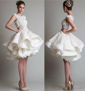 short lace wedding dresses 2018 bateau cap sleeves backless knee length A line chiffon beach bridal gowns