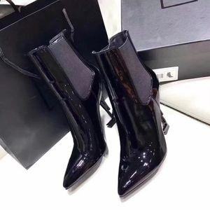 Clássico Mulher De Couro De Patente Botas Curtas Ladies Thrill Bombas de Salto Alto Sexy Black Ankle Boots Vestido Único Sapatos Tamanho Grande 34-44