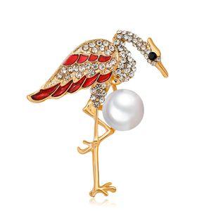 Pin Broche Flamingo Animal com strass claro