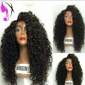 180density 블랙 브라운 레드 퍼플 핑크 Gey 변태 곱슬 인조 레이스 앞머리 가발 자연스러운 검은 색 흰색 헤어 라인