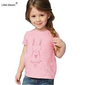 2018 New Little Maven 1-6 Anos Meninas T-shirt de Manga Curta Animais Impressão Crianças Tees Impressão de Gato de Coelho Crianças Tops KF046-1