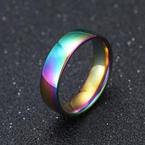 6MM الفولاذ المقاوم للصدأ خواتم الزفاف GOLD SILVER أسود RAINBOW بسيط فرقة خواتم الخطبة للنساء رجال للجنسين مجوهرات اكسسوارات