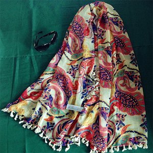 Retro Totems Shawl Long Tassels Woman Summer Scarves Superior Quality Silk Scarf Voile Wraps Hot Sale 21dh gg