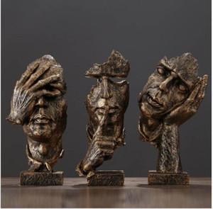 La Escultura Abstracta Estatuilla Ornamentos Silencio Es Oficina de Oro Accesorios de Decoración Del Hogar Arte Moderno Arte de La Decoración de Resina