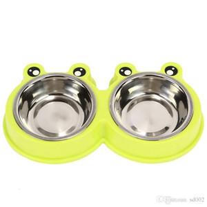 Ispessimento Ciotola per cani in acciaio inox di buona qualità Forniture per animali domestici Conservazione degli alimenti per acqua Convenienti alimentatori per riso doppio gatto 8 5 db db