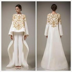 Die neuen 2020 neue lange Partei-Abendkleider Arabische langärmelige Kleid Kleidung Stickerei beige Kleid sexy Frauen kleiden dubai Abendkleider