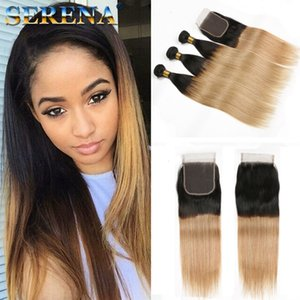 #1B 27 Honey Blonde Ombre Brazilian Hair 3 Bundles With Lace Closure Dark Roots Two Tone Silky Straight Ombre Hair Weaves With Closure