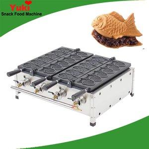 Doble placa de gas comercial 12 fabricante de gofres de pescado Máquina de la torta de pescado coreano taiyaki máquina de la parrilla de gas