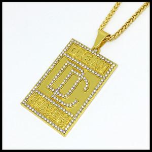 Crystal Design DC Collana pendente 24K gioielli in oro placcato Hip Hop Dream Chasers gioielli ciondolo collana per uomo Design Hipster