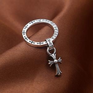 2018 neue 925 Sterling Silber Vintage Schmuck American Antik Silber handgefertigte Designer Band Ringe mit Kreuz Quaste Anhänger für Frauen