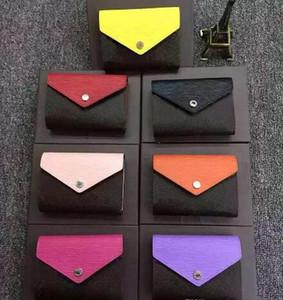 Classic Leather Clemence Box reale multicolore Portamonete Data Holder Codice Breve raccoglitore della carta Zipper Pockets 60492