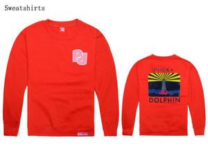 Großhandel Südküste rosa Delphin Männer und Frauen Fleece Hoody 100% Baumwolle Langarm lose für Straßentanz tragen