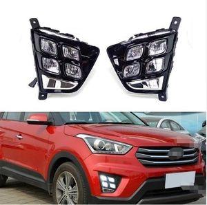 Araba Aksesuarları Su Geçirmez ABS 12 V LED Gündüz Işık DRL Sis Lambası Dekorasyon Hyundai Creta IX25 2014 2015 2016