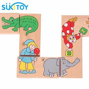 Tuğla Ahşap Bulmaca Oyuncak 15 adet Hayvan Domino Bulmaca Çocuklar Yumuşak Montessori Ahşap Bulmaca Oyuncak Set Yüksek Kalite Hediye Bebek Için 16 cm * 3 cm * 1 cm