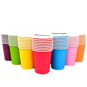 800 pcs / ensemble Solide Couleur Papier Tasse De Qualité Alimentaire Jetable Vaisselle Pour Le Mariage Douche Enfants Fête D'anniversaire Fournitures 250 ML
