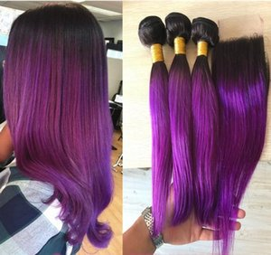 10A Brazilian Purple Ombre Lace Closure With Bundles Two Tone #1b Purple Human Hair With Closure Purple Dark Roots Bundles