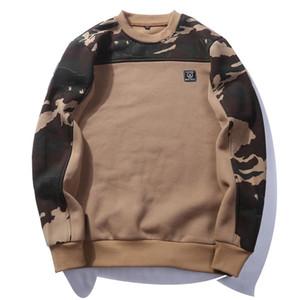 Fita Side Moda Camouflage Hoodies dos homens de Hip Hop manga comprida Casual Camo pulôver moletom com capuz masculino Streetwear S-2XL