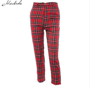 Macheda Summer New Fashion Donna Casual Pantaloni Pantaloni Plaid femminile Harem Fit Pantaloni Donna 2018 New Red Abbigliamento casual Pantaloni