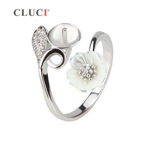 CLUCI 매력적인 꽃 디자인 925 스털링 실버 조절 진주 반지 액세서리, 여성을위한 훌륭한 보석 선물 Y18102510