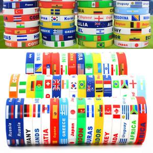 2018 Rusia Copa Mundial brazaletes deportivos Muchos países Muñequera de silicona banderas nacionales para los aficionados de fútbol de regalo de joyería regalo C4210