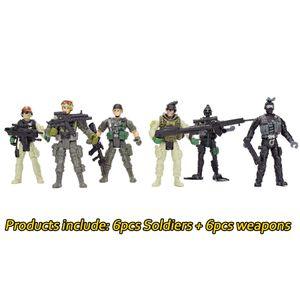 6 ШТ. 360 Градусов Вращающиеся Съемные Американские Солдаты Военная Модель Игрушки Подарки для Детей Подростков Военная Армия Боевые Игры для Мальчиков Модель Игрушки