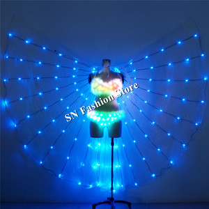 TC-186 Programmable full color led trajes luminosos coloridos luz levou asas sexy dança mulheres sutiã salão de baile cantor veste roupas desempenho