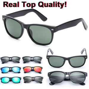 As lentes de proteção quadrado alta Acetato Qualidade lente Quadro Sun Óculos com lente de vidro G15 Espelho Óculos de sol do metal Design Vidros For Ladies UV