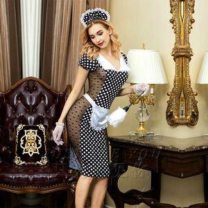 Sexy mujeres adultas Nite traje de mucama francés erótico siervo Cosplay vestido Hot Sexy Maid ropa trajes de Halloween finales 6312 C18111601