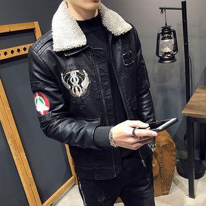 Inverno nuovo cappotto di pelle vestiti locomotiva ispessimento collo di pelliccia di pelle bella giacca di agnello giacca uomini sottili