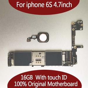 iphone 6S를위한 16G 64G 128GB 마더 보드, 지문 인식 터치 ID 부착 iphonbe 6S 논리 보드 용 잠금 해제 무료 배송