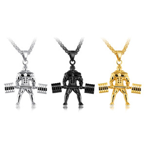 Punk Dumbbells Weightlifting Pendant Necklaces For Men 3 Colors Stainless Steel Box Chain Male Hercules Championship GX1218