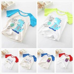 Meninos de verão de Algodão Cartton Impresso T-shirt Branca Colorido Raglan Essentials Macio Em Torno Do Pescoço-de Manga Curta T-shirt das Crianças Roupas de Verão