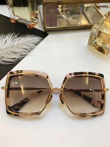Les femmes tortue crème or rose / brun foncé Lunettes de soleil carrées ombrées Lunettes de soleil Lunettes de soleil carrées lunettes vintage neuf avec boite