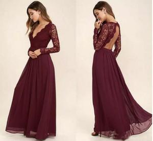 2019 Lace Borgonha dama de honra vestidos de Chiffon saia ilusão corpete mangas compridas A linha de vestidos de dama de honra Júnior barato BA6895