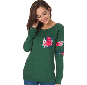 Frühling und Herbst Europa und die Vereinigten Staaten Frauenhemd platzen heißen Rundhalsausschnitt Langarm-T-Shirt gedruckt